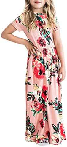 6b5881b238 Fashspo Girl's Summer Maxi Dress Short Sleeve Floral Casual Printed Empire  Waist Long Party Dress with