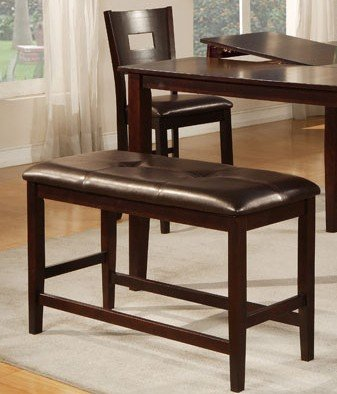 Counter Height Bench with Tufted-Butto in Brown Finish by Poundex