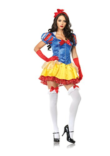 Leg Avenue Womens Snow White Disney Princess Outfit Fancy Dress Sexy Costume, M/L (Cheap Disney Princess Costumes)