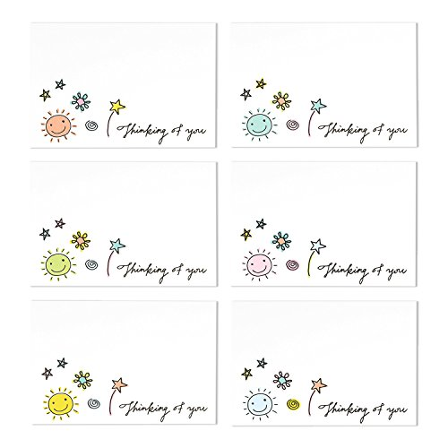36-Assorted-Pack-Thinking-of-You-Note-Cards-Bulk-Box-Set-Blank-on-the-Inside-6-Colorful-Doodle-Designs-Includes-36-Greeting-Cards-and-Envelopes-4-x-6-Inches