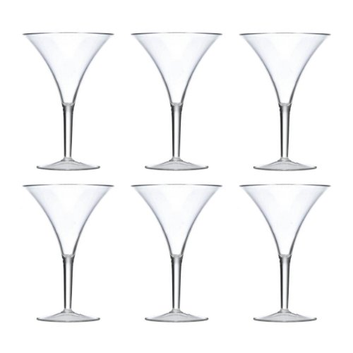 Prodyne Forever Grand Clear Polycarbonate 10 Ounce Martini Glass, Set of 6