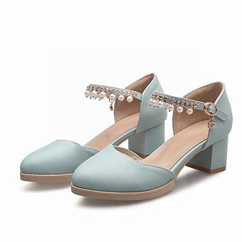 MissSaSa Damen Knöchelriemchen Chunky heel Pumps mit Strass und Perlen Schnalle Blockabstz runde Spitze Sandalen Blau