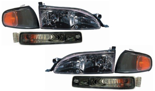 Toyota Camry Replacement Headlight Assembly (Diamond Design, Black) - 1-Pair (Toyota Camry Headlight Replacement)