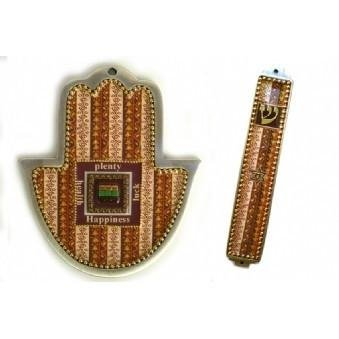(Brown mosaic 2 piece Hamsa and Mezuza set)