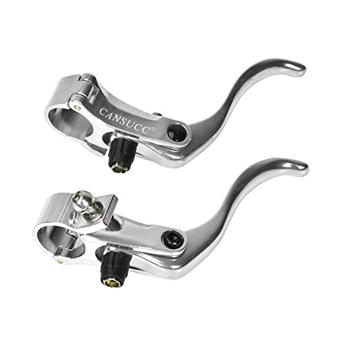 Bike Brake Levers,1pair Lightweight Aluminum Alloy Bicycle Disc Brake Handles Cycling Brake Levers for 24mm Bicycle Handlebars(Silver)