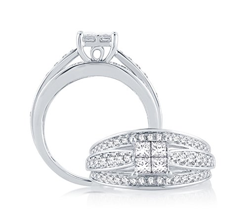 1 Cttw Invisible Set Princess Diamond Quad Cathedral Engagement Ring in 10kt White Gold (IJ/I2I3) (6)