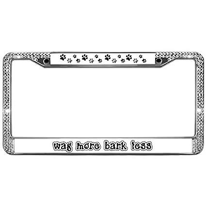 Amazon.com: Welljooy wag more bark less License Plate Frame License ...
