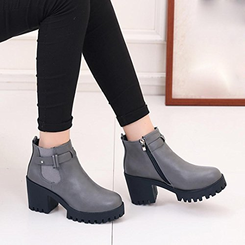 Price comparison product image WensLTD Women Boots Square Heel Platforms Leather Thigh High Pump Boots (7
