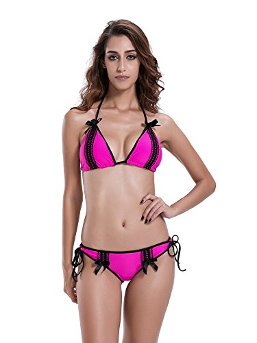 Reteron Women's Cute Lace Triangle Brazilian Bikini Swimwear (M, Hot Pink)