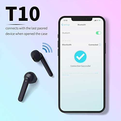 True Wireless Earbuds,Torteco T10 Wireless Headphones with 4 Microphones,Dual Microphone Noise Reduction Clear Call, USB C, 40H Playtime,IPX6 Waterproof,Touch Control,Wireless Earphones for Work,Home