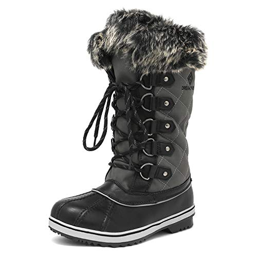 DREAM PAIRS Women's River_1 Grey Mid Calf Winter Snow Boots