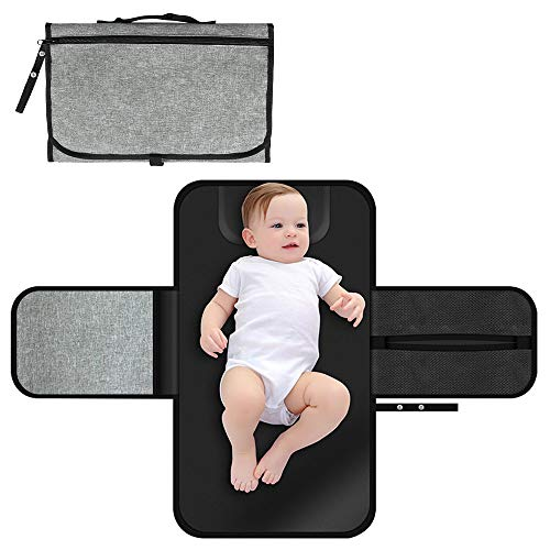 Portable Baby Changing Pad Diaper Bag Waterproof Travel Mat Station Portable Changing Mat Grey Diaper Changing Pad for Baby Diapering Entirely Padded Diaper Clutch with Memory Foam Baby Head Pillow & from YEAHOME