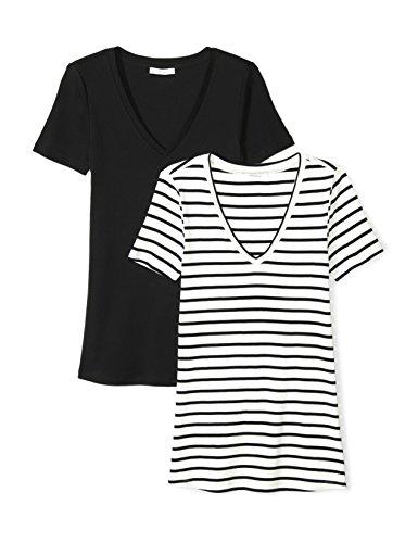 Daily Ritual Womens Midweight 100% Supima Cotton Rib Knit Short-Sleeve V-Neck T-Shirt, 2-Pack