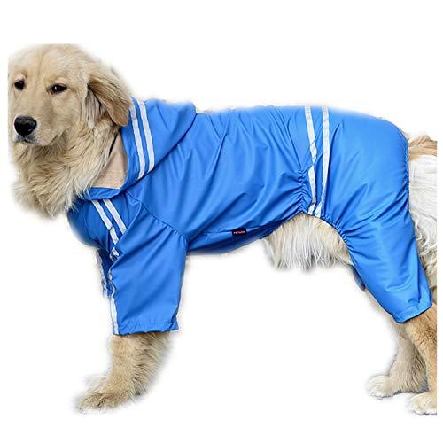 shine-hearty Waterproof Pet Large Dog Raincoat Big for Dogs Rainwear Jacket Golden Retriever,Blue,6XL