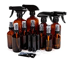 These high quality, Amber Glass Bottles are perfect for use with essential oils. They are also extremely useful for a variety of household uses. The different bottle sizes provide convenience for many different occasions. The Trigger Sprayers...