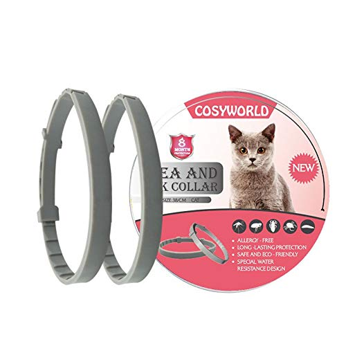 COSYWORLD 2 Pack Flea and Tick Collar for Cats - 100% Natural Essential Oil Flea & Tick Prevention - Adjustable, Safe & Waterproof Flea Control Collar - 8 Months Protection