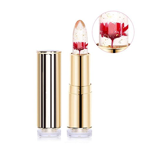 Jelly Lipstick, Htgtai Translucent Moisturizer lipsticks Lips Care Surplus Bright Flower Lipstick - Flame Red - Clear Outer Shade