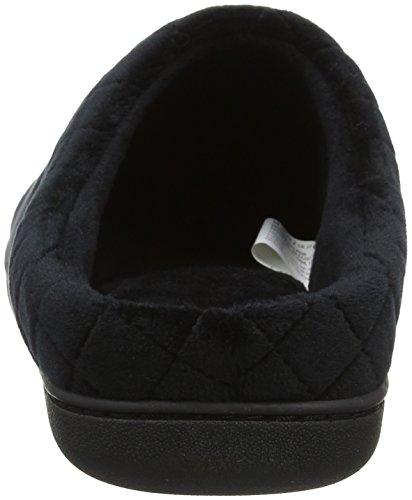 Velour W Closed Black Embr Noir Dearfoams 00001 Back Femme Pantoufles d6twq5