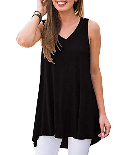 GADEWAKE Womens Summer V Neck Floral Printed Sleeveless Tank Tops Casual Shirts Tunics Black