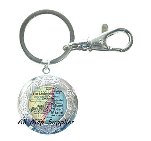 Charming Locket Keychain,Miami map Locket Key Ring, Miami Locket Key Ring, Ft Lauderdale, Miami Beach, Hialeah, Coral Gables, Miami map Locket Keychain,A0296 (1)