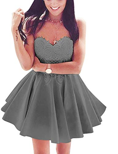 Prom Short Dress Women's Homecoming Sweetheart Grey Bridal Lace Skater Bess Steel gXOIFqTF