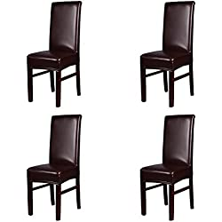 Beyonder Stretch Solid Pu Leather Waterproof Dining Chair Cover Slipcover Removable Washable Short Dining Chair Cover Protector Seat Solid Slipcovers for Hotel,Dining Room,Wedding (Brown, 4)
