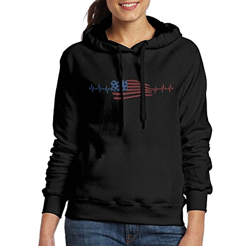 Heartbeat American Flag 2017 New Customized Printed Women's Pullover - Costa Sale Friday Black