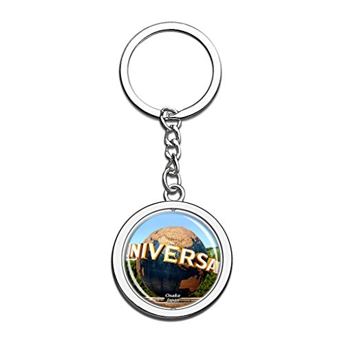 Japan Universal Studio Halloween (Hqiyaols Keychain Japan Universal Studios Japan Osaka Souvenirs Crystal Spinning Round Stainless Steel Key Chain Ring Travel City Gifts)