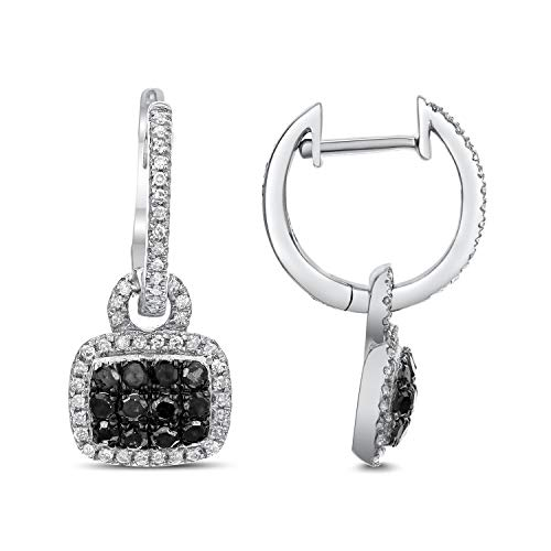 Diamond Couture 10K White Gold 0.10 Carats of Sparkling White Diamonds and 0.30 Carats of Shimmering Black Diamonds Dangle Earrings for Women and Girls