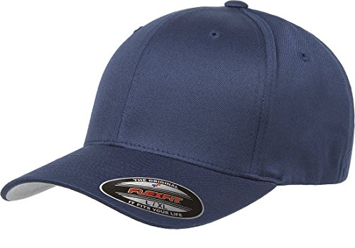 1 Fit New Hat Cap - Flexfit Men's Athletic Baseball Fitted Cap, Navy, Large/Extra Large