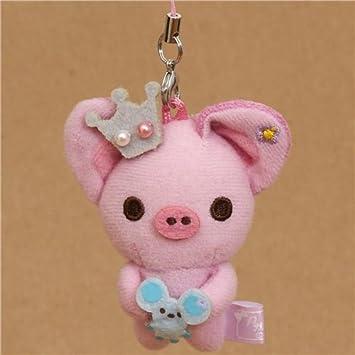 Colgante de peluche cerdito rosa Piggy Girl con ratón