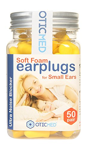 OTICMED Soft Foam Ear Plugs for Small Ears, Latex Free Earplugs for Sleeping, Hypoallergenic, Bell Shape, NRR 32 dB, 50 Pairs