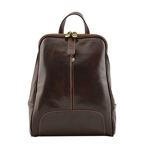 Dream Leather Bags Made in Italy Piel Verdadera Mochila En Piel Verdadera Para Mujer Color Marrón Oscuro - Peleteria Echa En Italia - Bolso Espalda