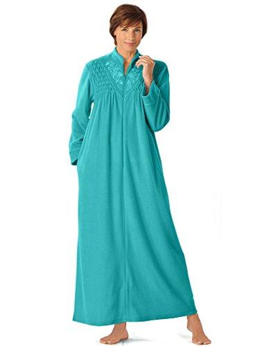 AmeriMark Women's Fleece Smocked Robe 2X (20W-22W) / Jade