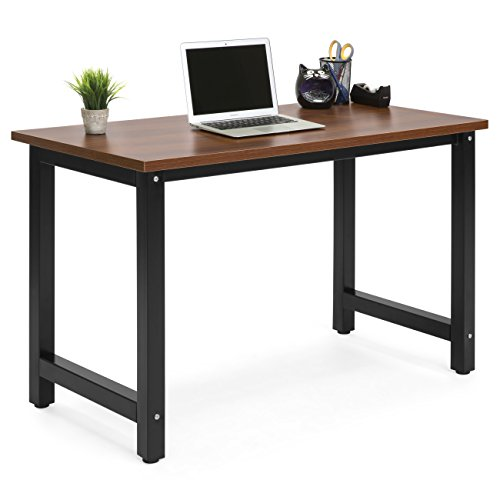 Best Choice Products Large Modern Computer Table Writing Desk Workstation for Home and Offce - Brown/Black by Best Choice Products