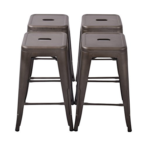 Changjie Furniture 26'' High Backless Metal Bar Stool for Indoor-Outdoor Kitchen Counter Bar Stools Set of 4 (26 inch, Bronze)