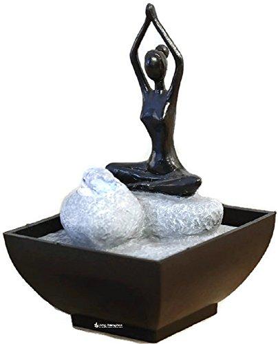Zimmerbrunnen Innenbrunnen Feng Shui Yoga Lotus LED Farb Beleuchtung 19 cm