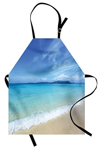 Lunarable Ocean Apron, Exotic Beach Scenery with Sky