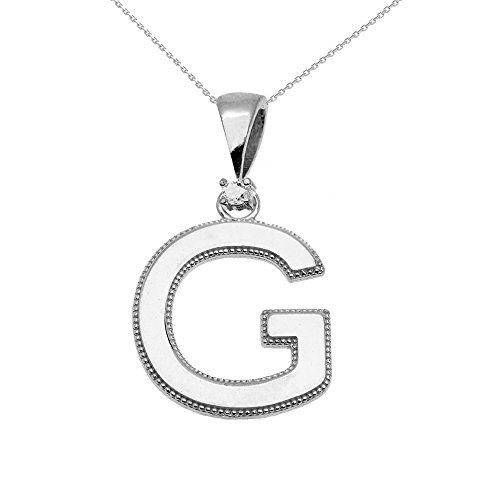 """Collier Femme Pendentif 14 Ct Or Blanc Poli Élevé Milgrain Solitaire Diamant """"G"""" Initiale (Livré avec une 45cm Chaîne)"""