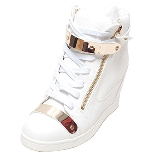Epicsnob Womens White Shoes High Top Synthetic Gold Velcro Fashion Sneakers 8 M US