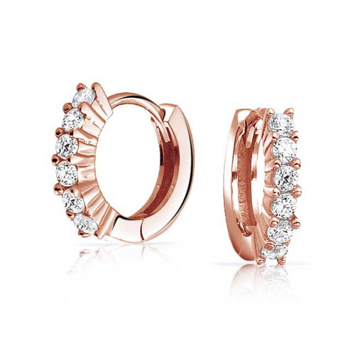 5 Solitaire Prong Set CZ Kpop Huggie Hoop Earrings For Women Men Cubic Zirconia Rose Gold Plate 925 Sterling Silver