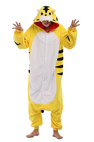 (FS Unisex Adult Onesie Pajamas Tiger Animal Costume Sleepwear)