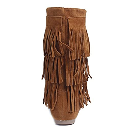 AgeeMi Shoes Femmes Bottines Compensées Poids Léger Boot Gland Daim Slouchy Hiver Bottines