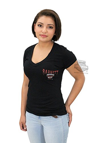 Longhorns T-shirt Texas Short Sleeve - Harley-Davidson Womens Barnett Harley Exclusive Longhorn V-Neck Black Short Sleeve T-Shirt - MD