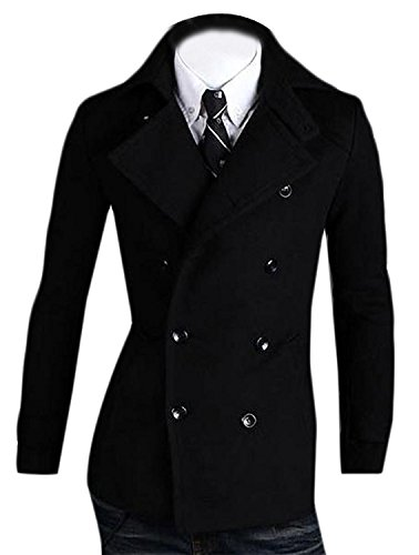 Roberoody Handsome Mens Simple Fitted Wool Double Breasted Windbreakers Jacket BlackUS XX-Large