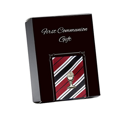 Boys Red Striped Tie and Silver Chalice Tie Pin for First Communion, 45-inch