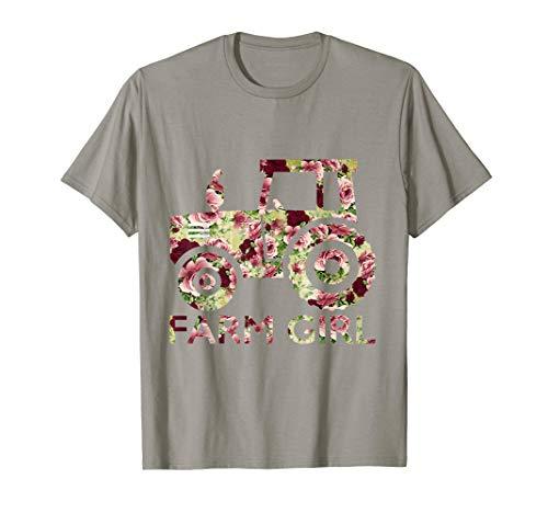 Farm Girl T-Shirt Tractors Mix Flower Lover Farm Girl -
