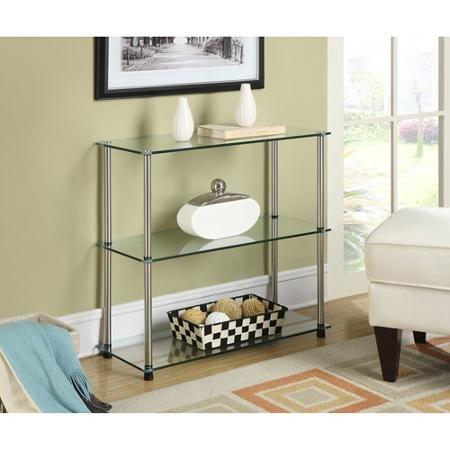 (3-Shelf Moisture-Resistant Glass Bookcase,)