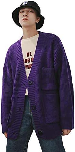 メンズ ニットカーディガン 長袖 秋冬 vネック ノーカラー セーター カーディガン 無地 ポケット 大きい シンプル トップス ゆったり おしゃれ ハンサム 防寒コート