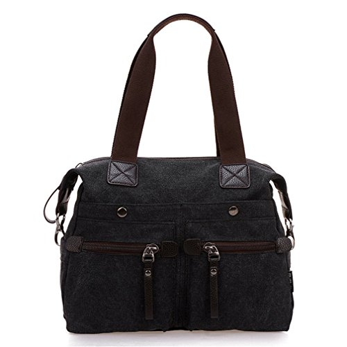 Top Canvas Weekender Strap Shoulder Women's Tianhengyi Tote With Handle Vintage Bag Balck Handbag Big q8Ex7wt